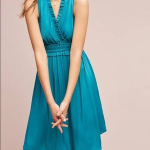 Anthropologie | Turquoise La Habana Dress hi low